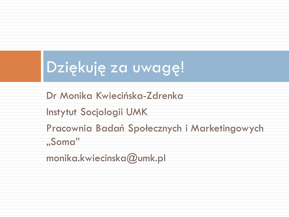 Dziękuję za uwagę! Dr Monika Kwiecińska-Zdrenka