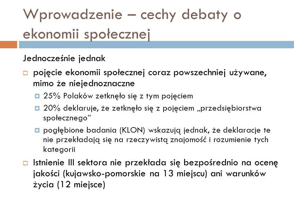 Wprowadzenie – cechy debaty o ekonomii społecznej