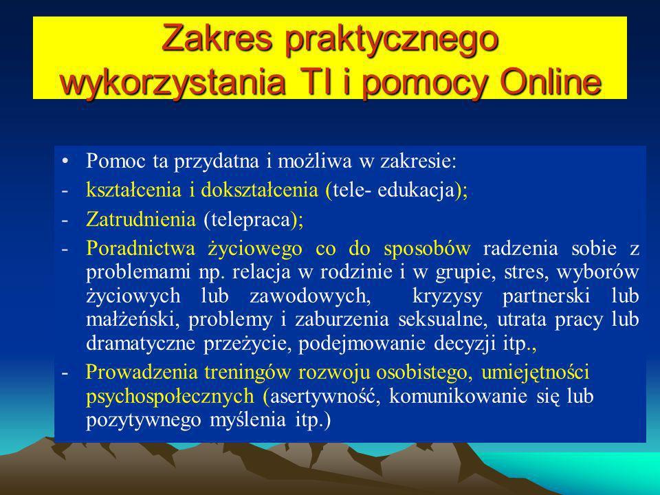 Zakres praktycznego wykorzystania TI i pomocy Online