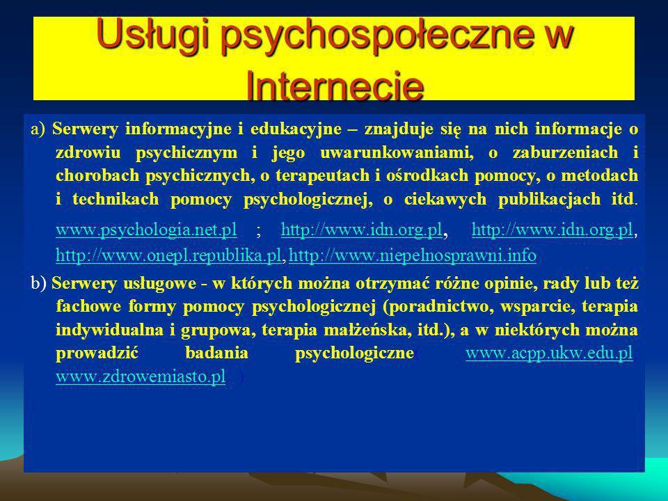 Usługi psychospołeczne w Internecie