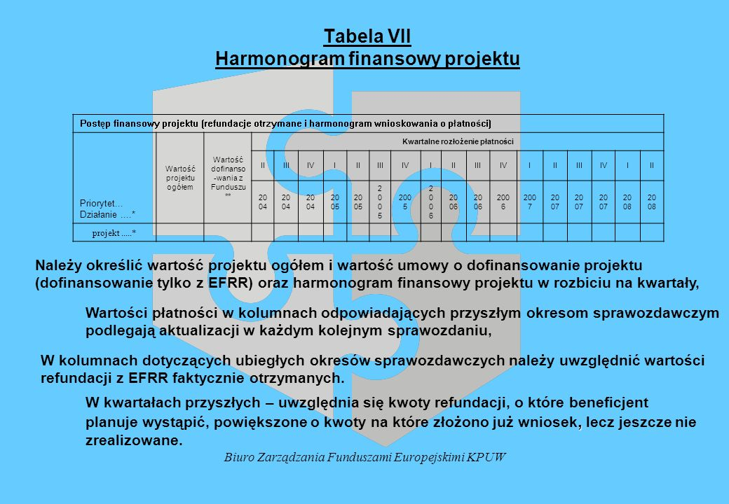 Tabela VII Harmonogram finansowy projektu