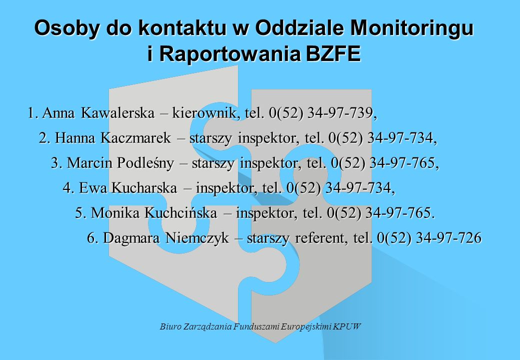 Osoby do kontaktu w Oddziale Monitoringu i Raportowania BZFE