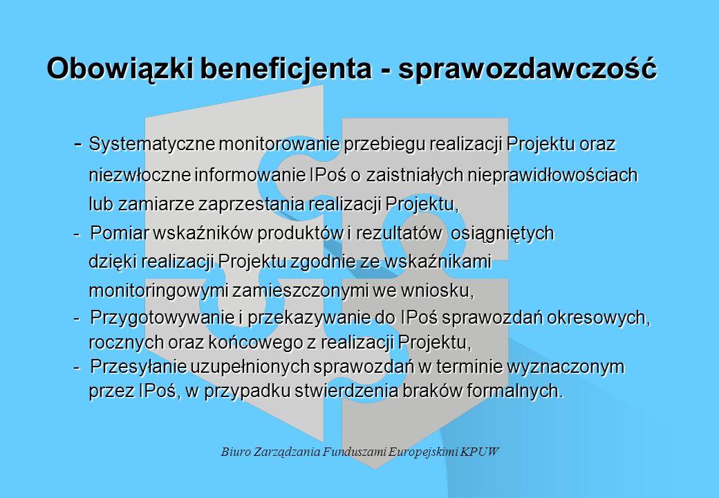 Obowiązki beneficjenta - sprawozdawczość