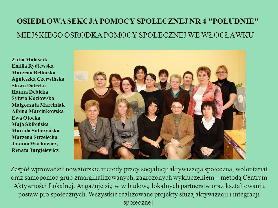 Osiedlowa sekcja pomocy społecznej nr 4 południe miejskiego ośrodka pomocy społecznej we Włocławku