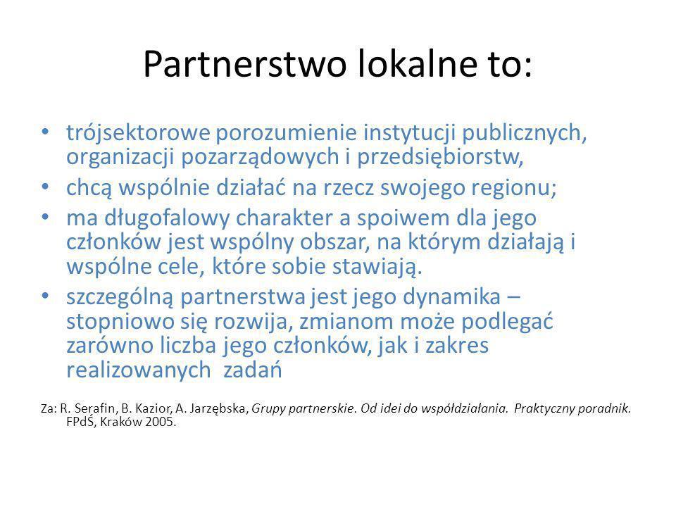 Partnerstwo lokalne to:
