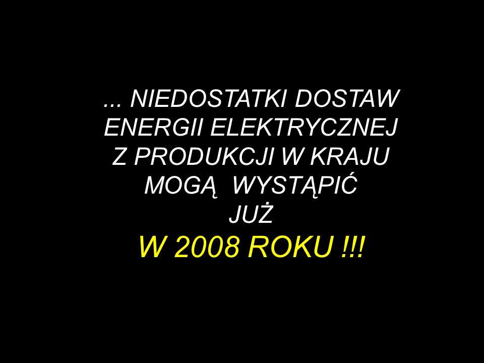 ... NIEDOSTATKI DOSTAW ENERGII ELEKTRYCZNEJ Z PRODUKCJI W KRAJU MOGĄ WYSTĄPIĆ JUŻ W 2008 ROKU !!!