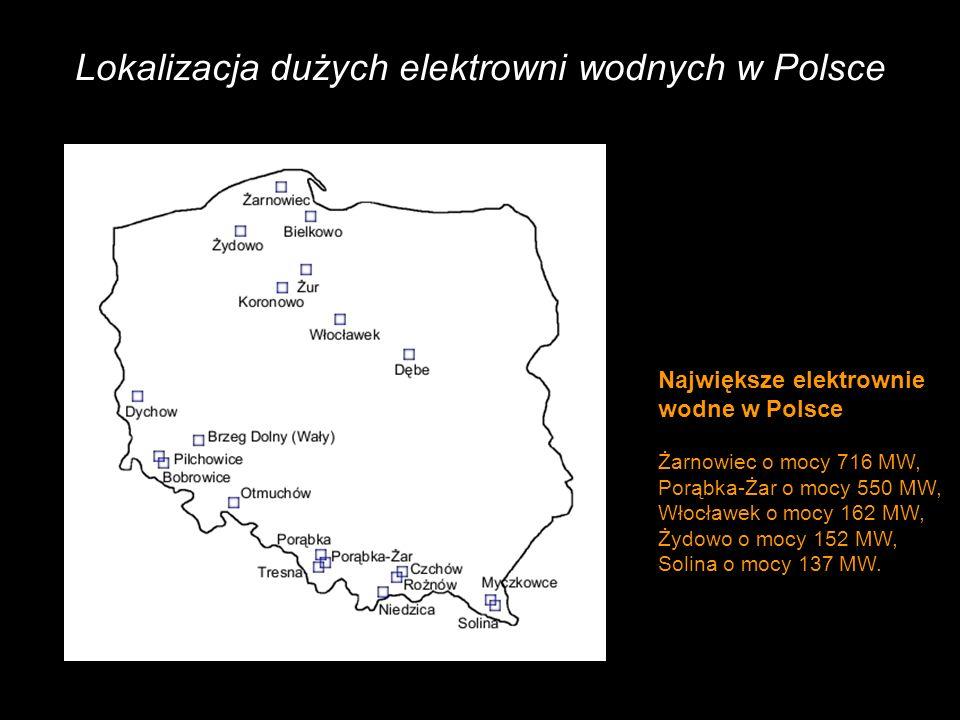 Lokalizacja dużych elektrowni wodnych w Polsce