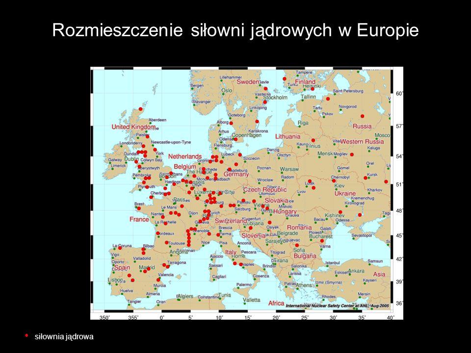 Rozmieszczenie siłowni jądrowych w Europie