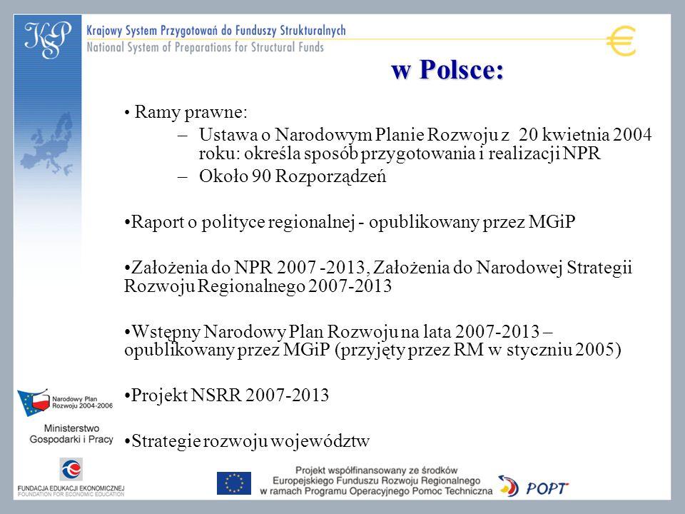 w Polsce: Ramy prawne: Ustawa o Narodowym Planie Rozwoju z 20 kwietnia 2004 roku: określa sposób przygotowania i realizacji NPR.