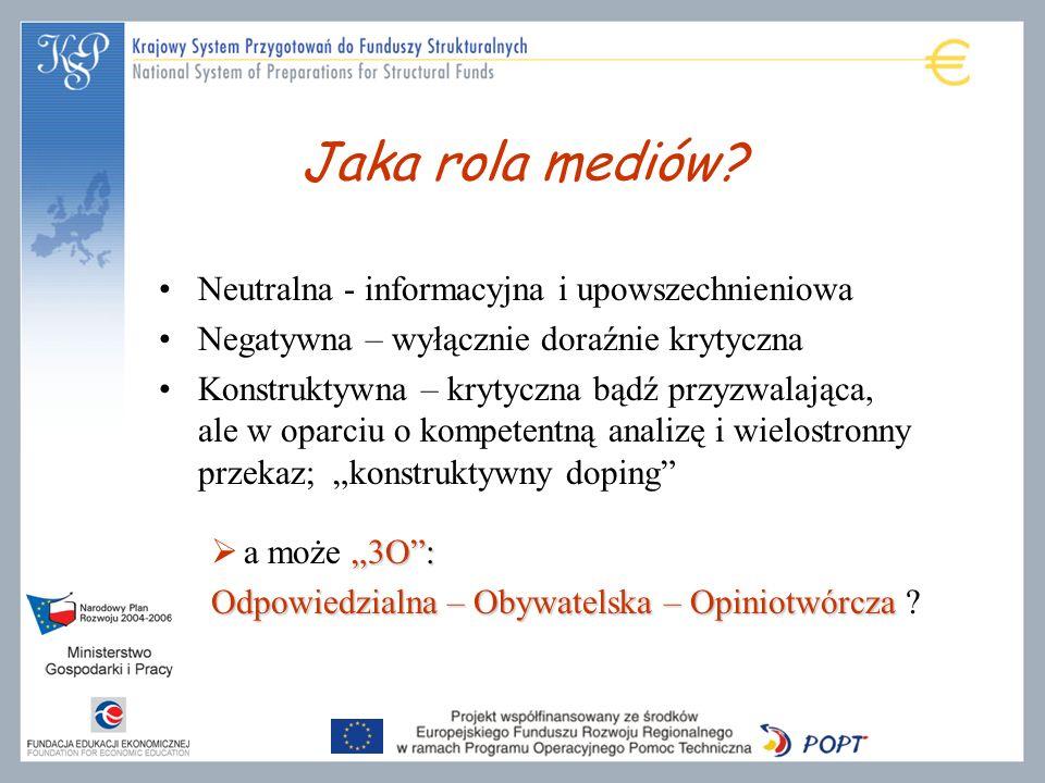 Jaka rola mediów Neutralna - informacyjna i upowszechnieniowa