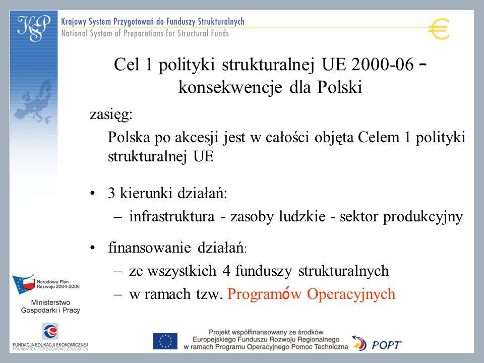 Cel 1 polityki strukturalnej UE 2000-06 – konsekwencje dla Polski