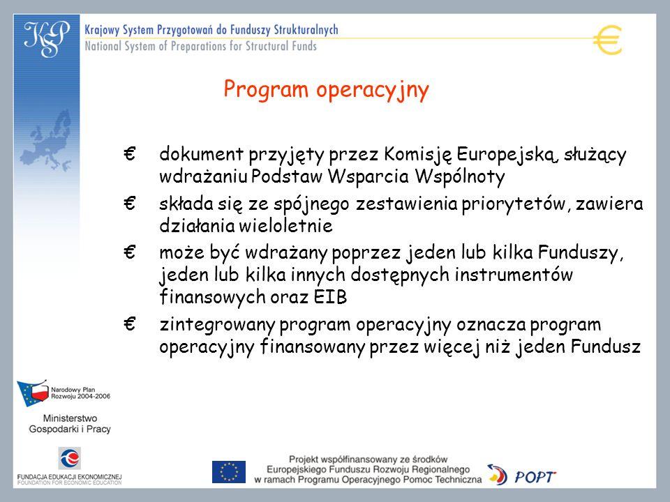 Program operacyjny dokument przyjęty przez Komisję Europejską, służący wdrażaniu Podstaw Wsparcia Wspólnoty.