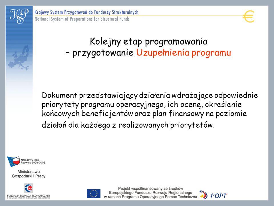 Kolejny etap programowania – przygotowanie Uzupełnienia programu