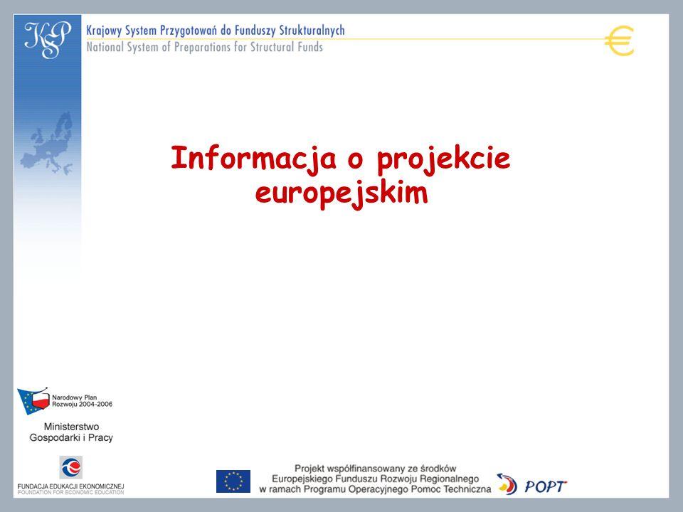 Informacja o projekcie europejskim