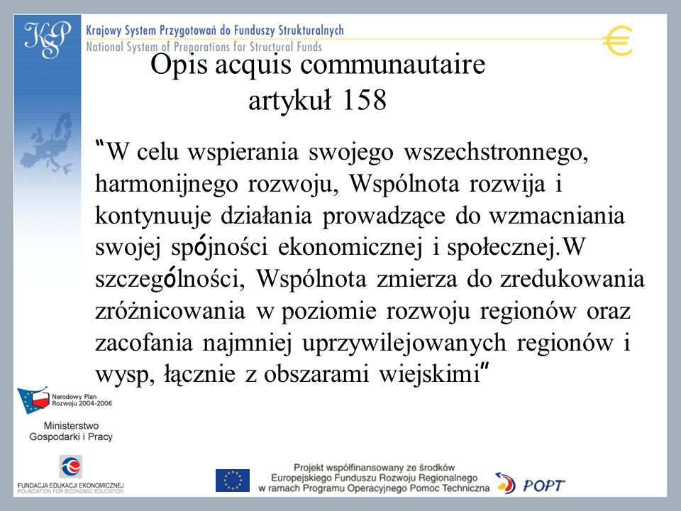 Opis acquis communautaire artykuł 158