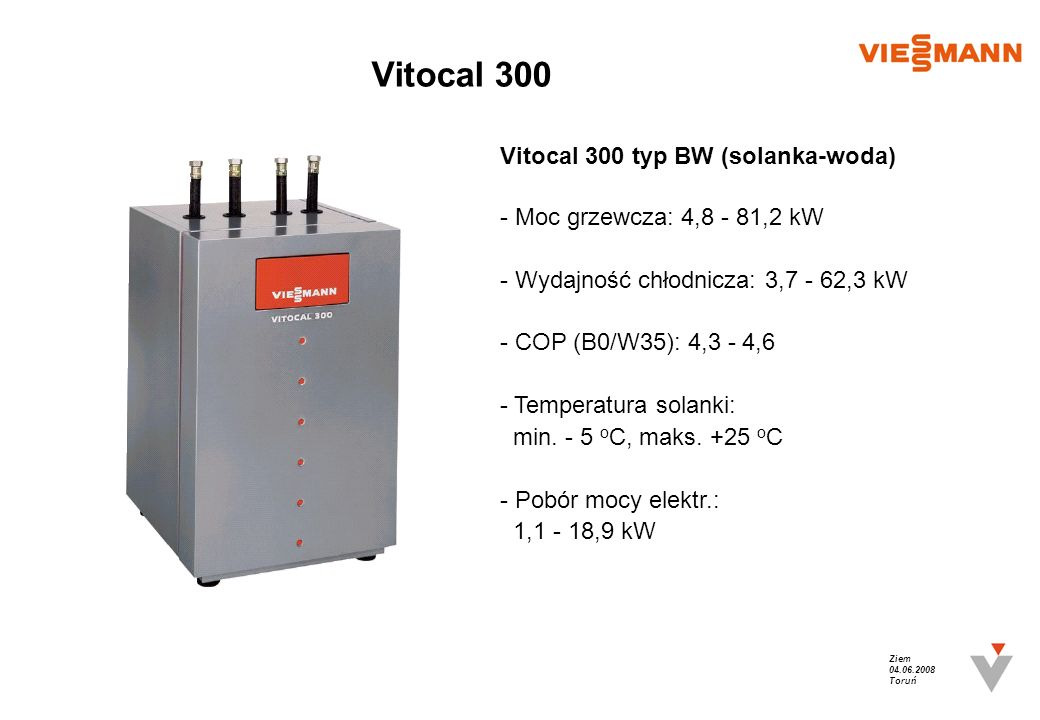 Vitocal 300 Vitocal 300 typ BW (solanka-woda)