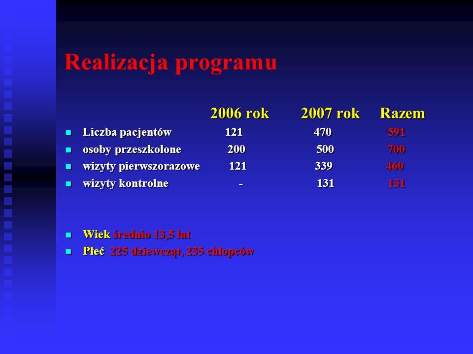 Realizacja programu 2006 rok 2007 rok Razem