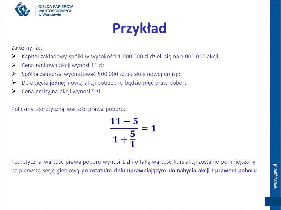 Przykład Załóżmy, że: Kapitał zakładowy spółki w wysokości 1 000 000 zł dzieli się na 1 000 000 akcji;