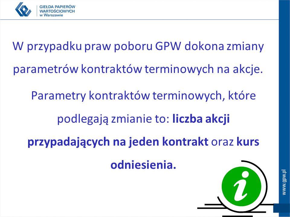 W przypadku praw poboru GPW dokona zmiany parametrów kontraktów terminowych na akcje.
