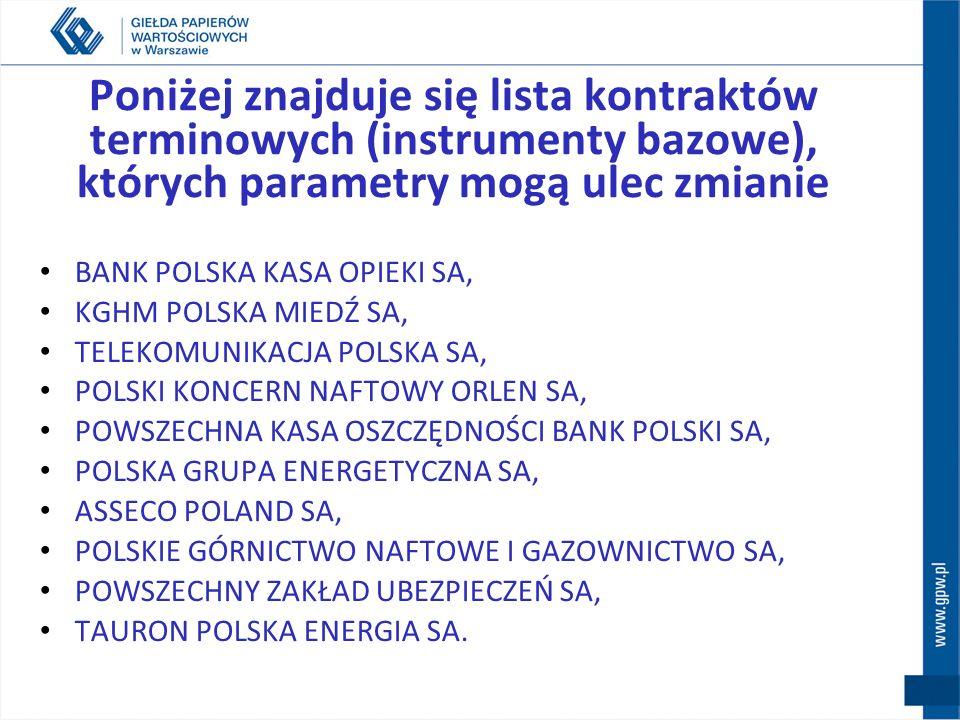 Poniżej znajduje się lista kontraktów terminowych (instrumenty bazowe), których parametry mogą ulec zmianie