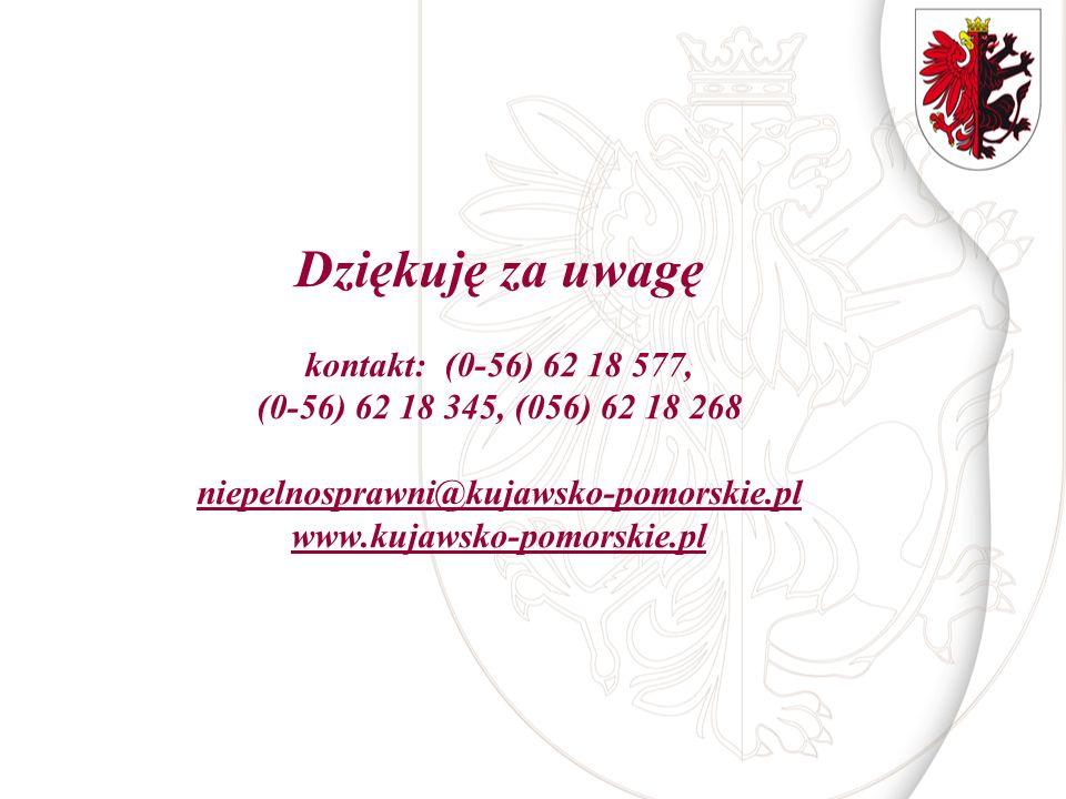 Dziękuję za uwagę kontakt: (0-56) 62 18 577, (0-56) 62 18 345, (056) 62 18 268 niepelnosprawni@kujawsko-pomorskie.pl www.kujawsko-pomorskie.pl