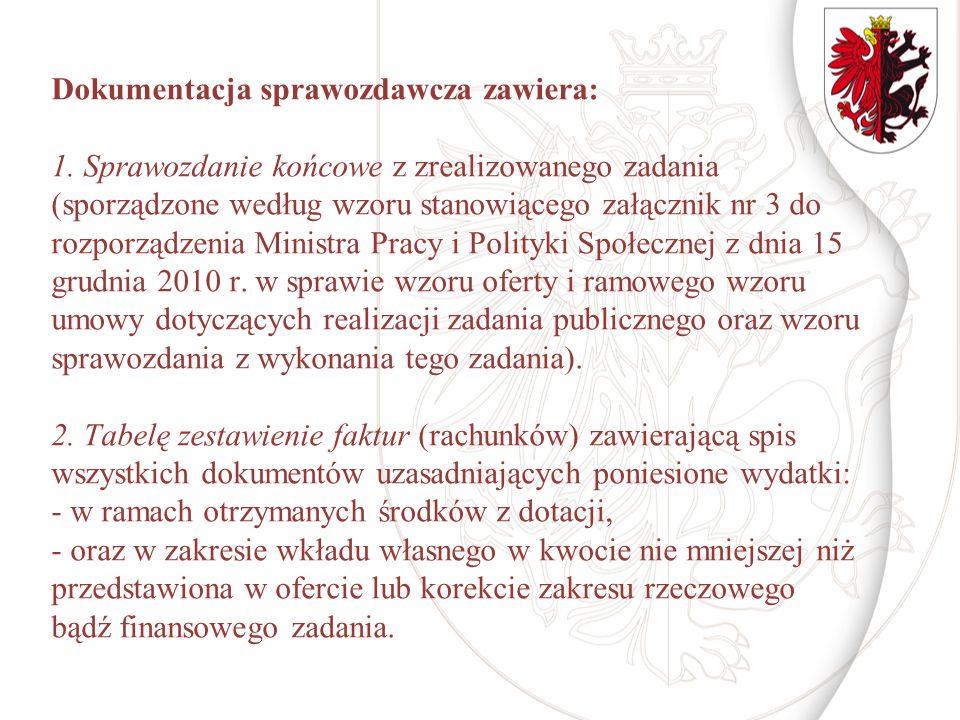 Dokumentacja sprawozdawcza zawiera: 1