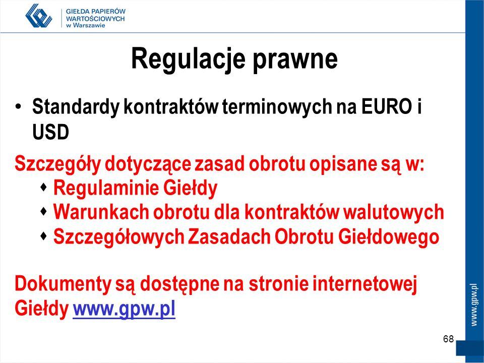 Regulacje prawne Standardy kontraktów terminowych na EURO i USD