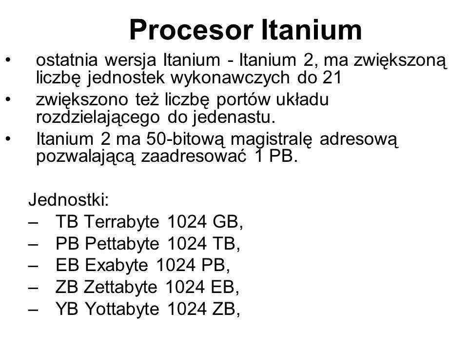 Procesor Itanium ostatnia wersja Itanium - Itanium 2, ma zwiększoną liczbę jednostek wykonawczych do 21.