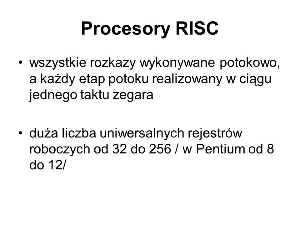 Procesory RISC wszystkie rozkazy wykonywane potokowo, a każdy etap potoku realizowany w ciągu jednego taktu zegara.