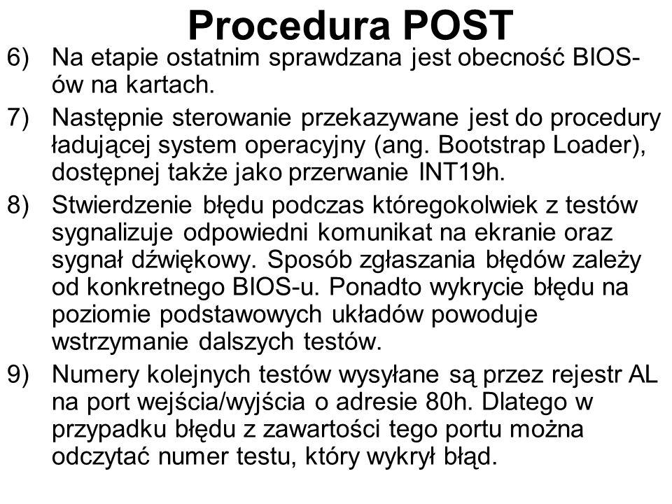 Procedura POST Na etapie ostatnim sprawdzana jest obecność BIOS-ów na kartach.