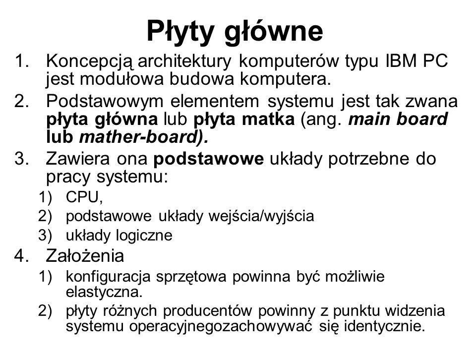 Płyty główne Koncepcją architektury komputerów typu IBM PC jest modułowa budowa komputera.