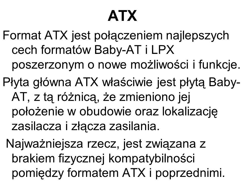 ATX Format ATX jest połączeniem najlepszych cech formatów Baby-AT i LPX poszerzonym o nowe możliwości i funkcje.