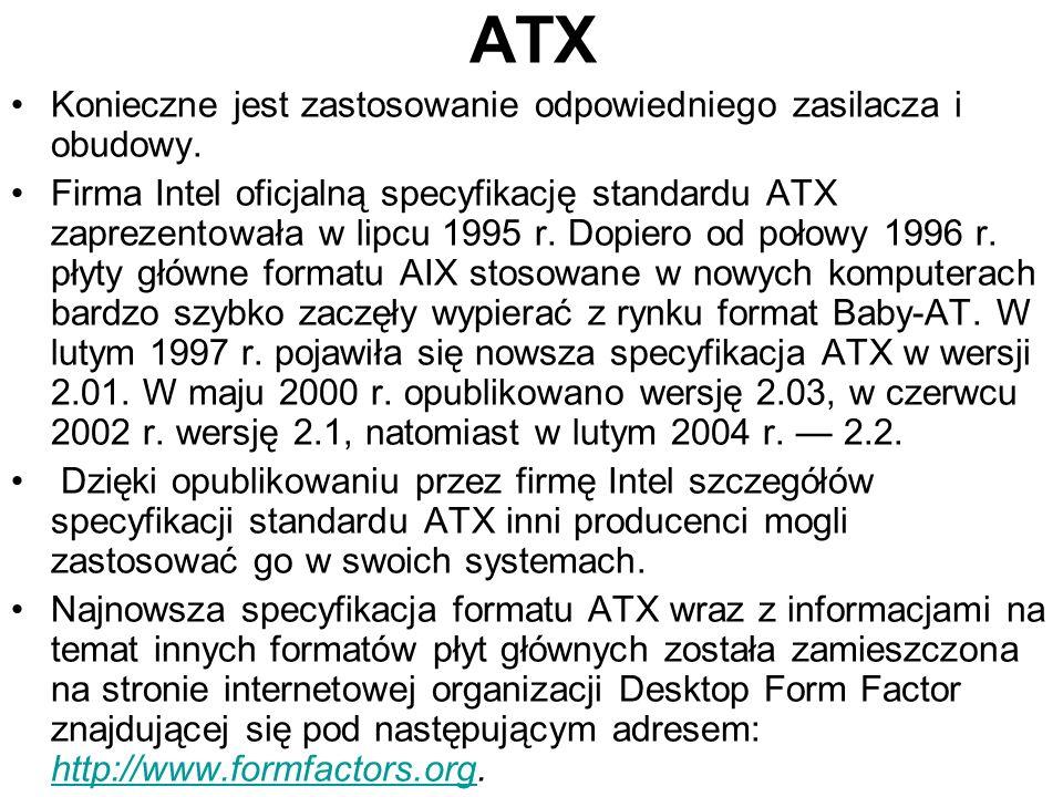 ATX Konieczne jest zastosowanie odpowiedniego zasilacza i obudowy.
