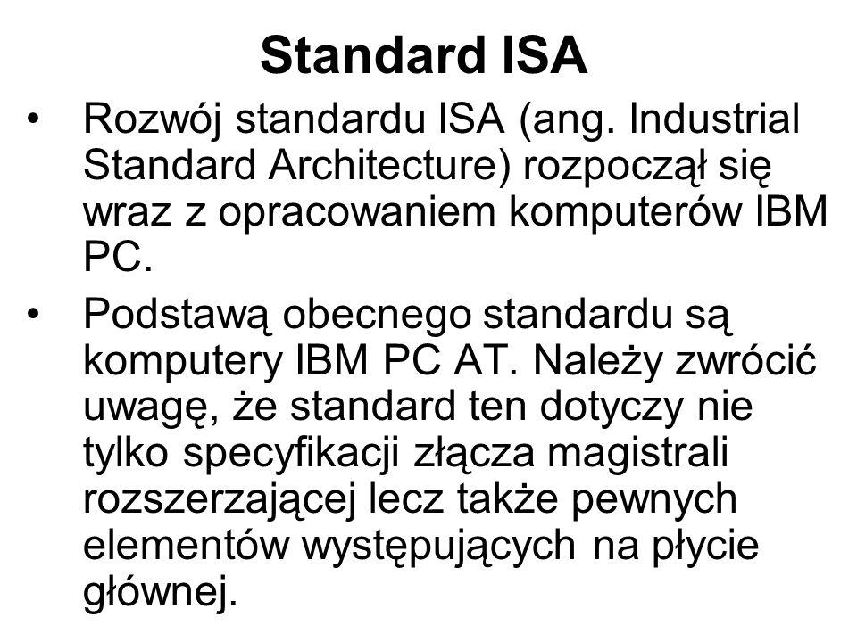 Standard ISARozwój standardu ISA (ang. Industrial Standard Architecture) rozpoczął się wraz z opracowaniem komputerów IBM PC.