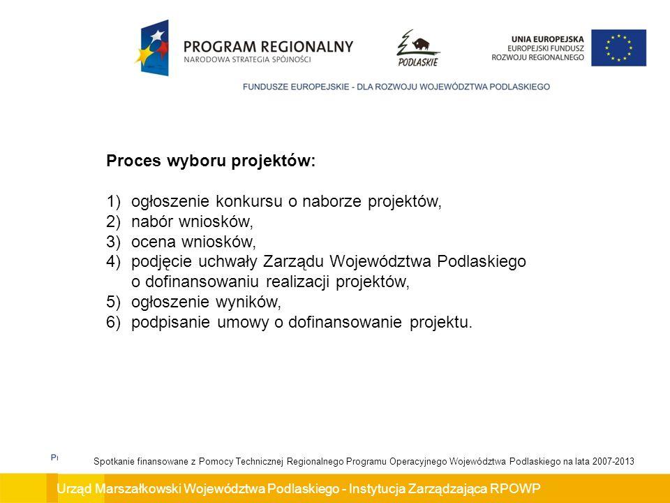 Proces wyboru projektów: ogłoszenie konkursu o naborze projektów,