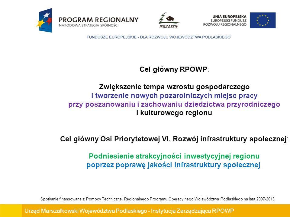 Cel główny Osi Priorytetowej VI. Rozwój infrastruktury społecznej: