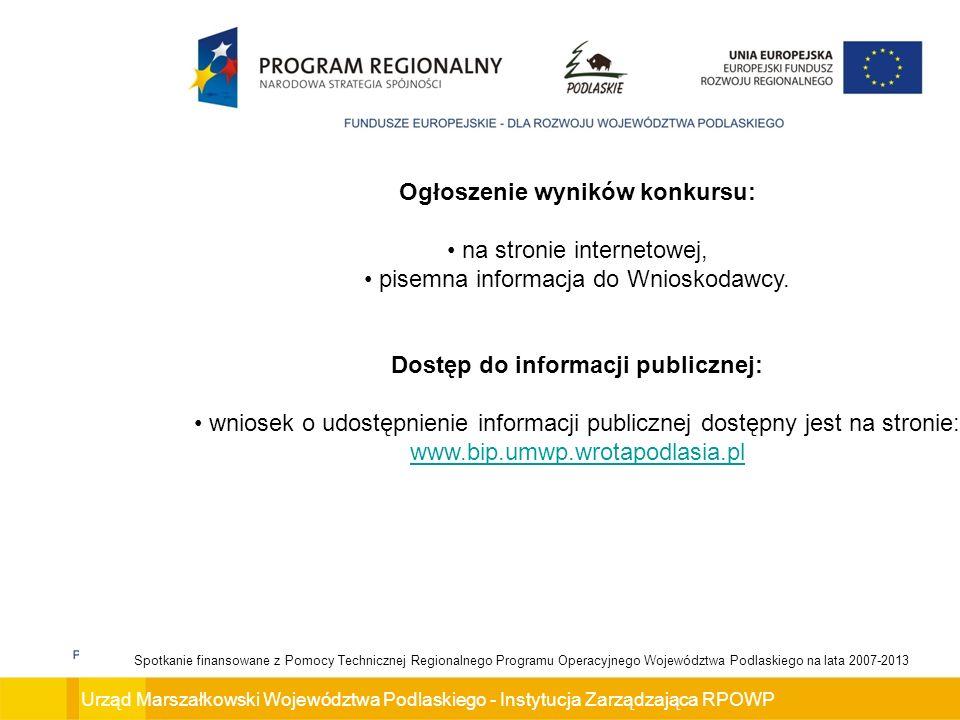 Ogłoszenie wyników konkursu: Dostęp do informacji publicznej: