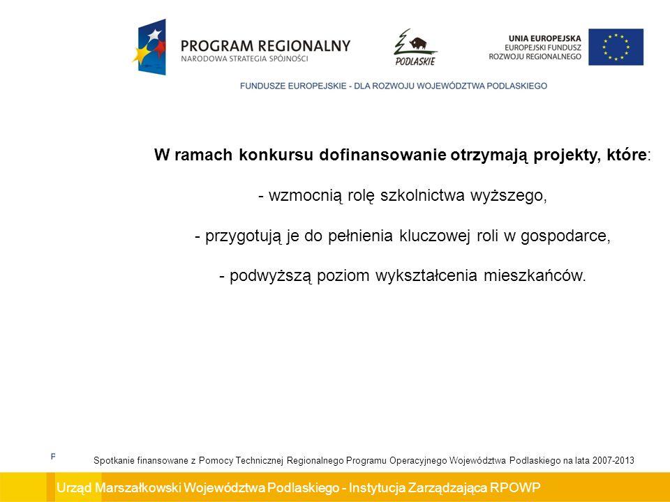 W ramach konkursu dofinansowanie otrzymają projekty, które:
