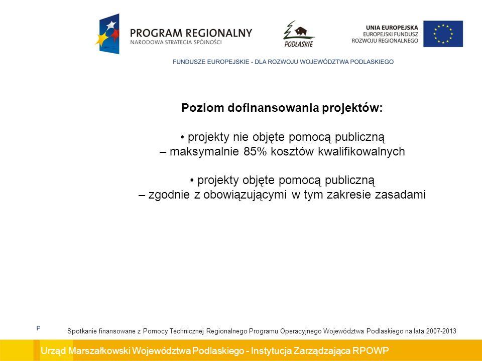 Poziom dofinansowania projektów: