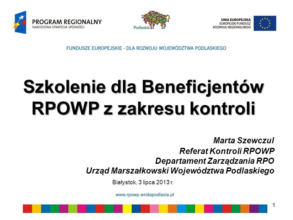 Szkolenie dla Beneficjentów RPOWP z zakresu kontroli
