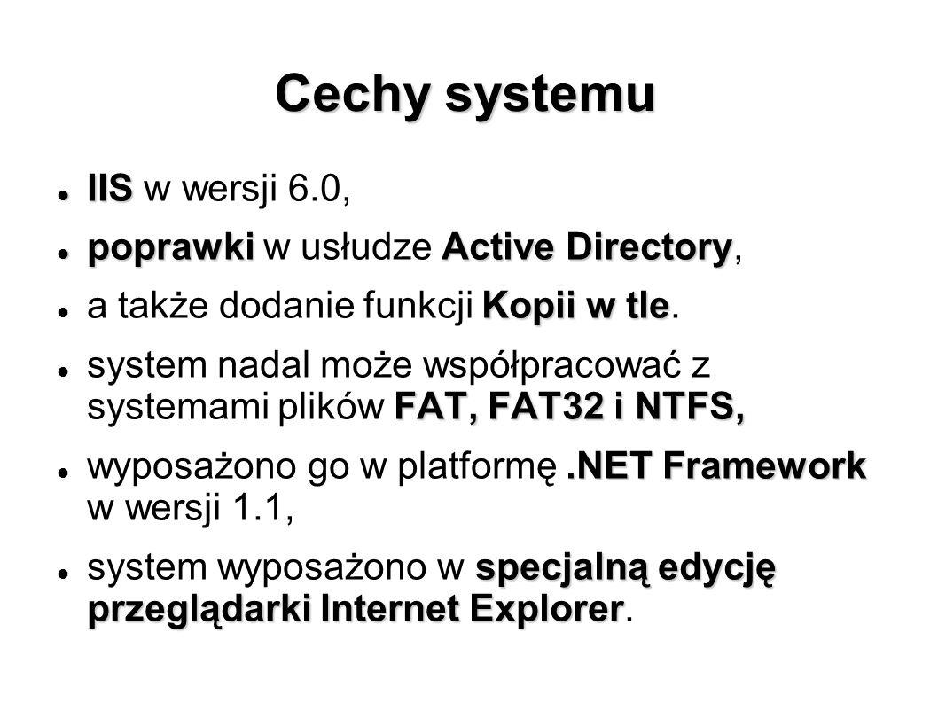 Cechy systemu IIS w wersji 6.0, poprawki w usłudze Active Directory,