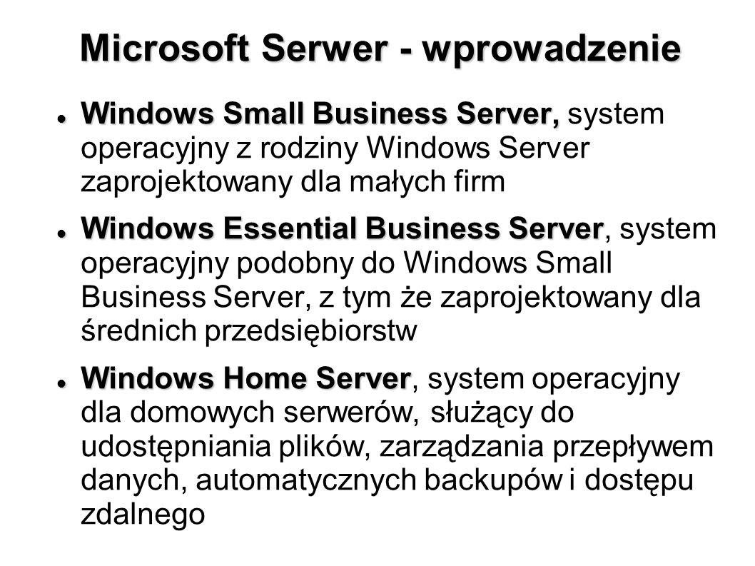 Microsoft Serwer - wprowadzenie