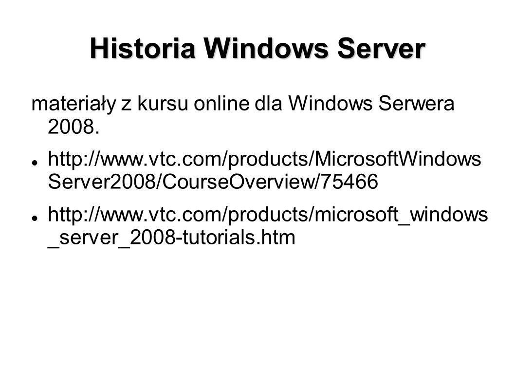 Historia Windows Server