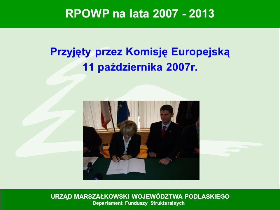 Przyjęty przez Komisję Europejską 11 października 2007r.