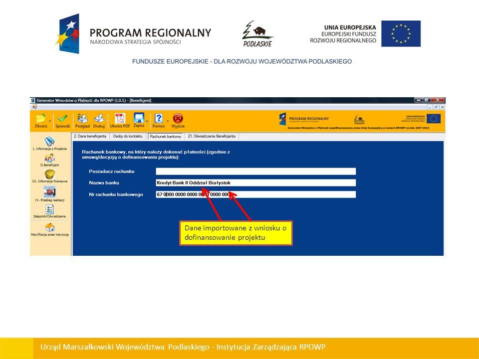 Dane importowane z wniosku o dofinansowanie projektu