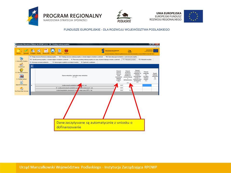 Dane zaczytywane są automatycznie z wniosku o dofinansowanie