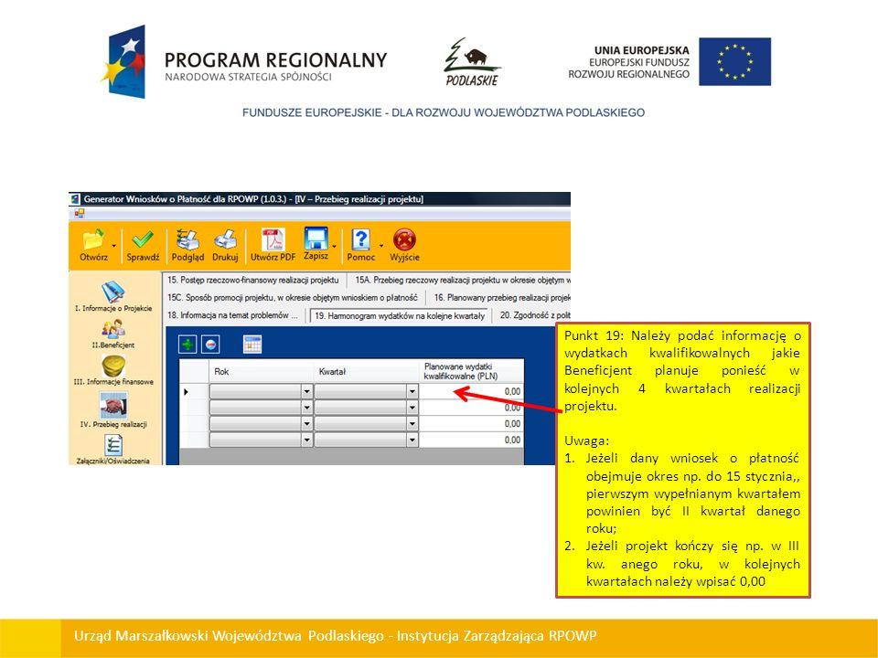 Punkt 19: Należy podać informację o wydatkach kwalifikowalnych jakie Beneficjent planuje ponieść w kolejnych 4 kwartałach realizacji projektu.