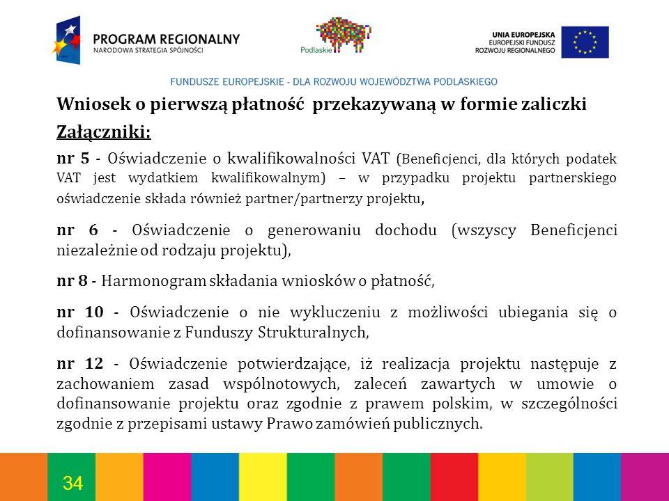 Wniosek o pierwszą płatność przekazywaną w formie zaliczki Załączniki: