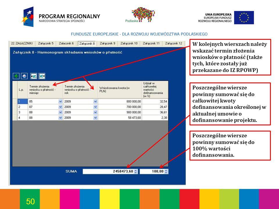 W kolejnych wierszach należy wskazać termin złożenia wniosków o płatność (także tych, które zostały już przekazane do IZ RPOWP)