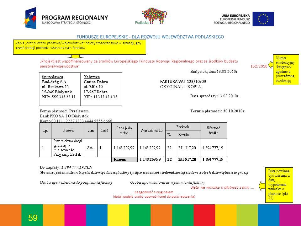 Forma płatności: Przelewem Termin płatności: 30.10.2010r.